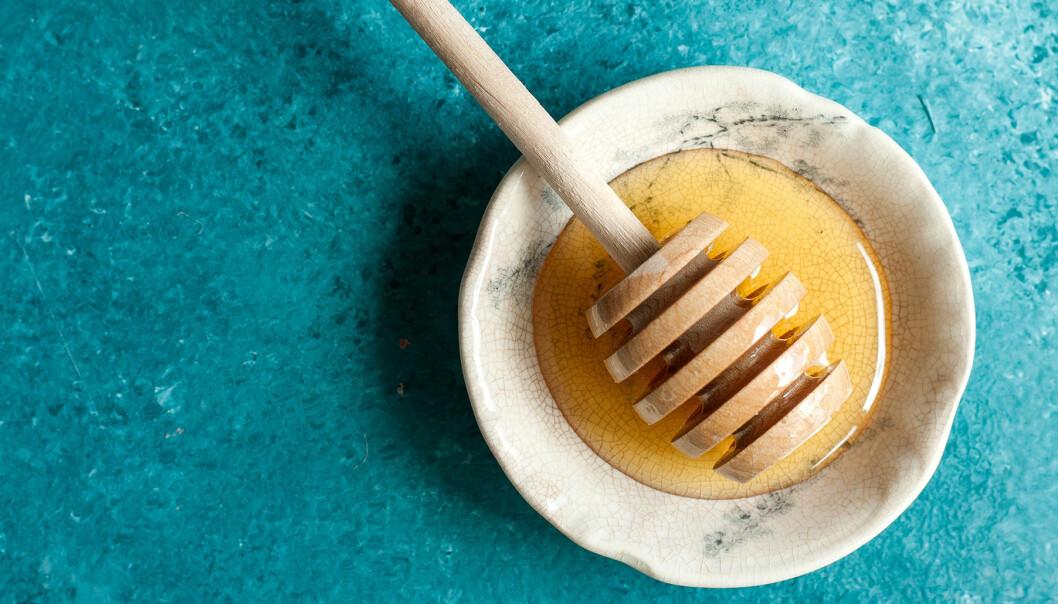 Fat med honung och honungssked på turkost bord