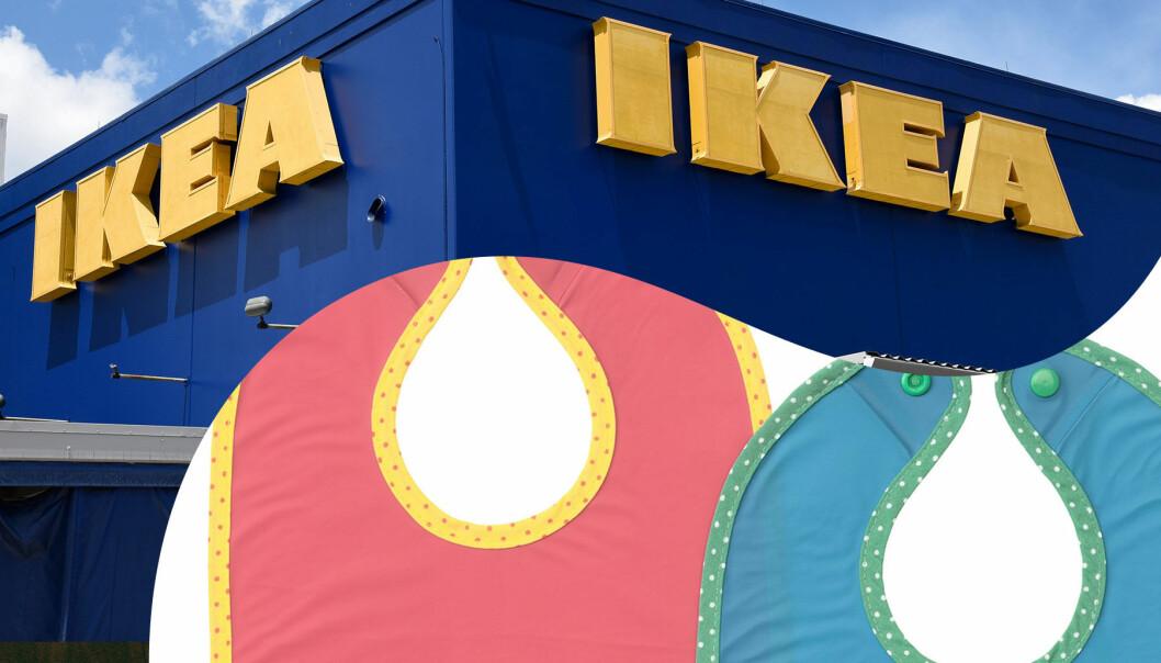 Ikea återkallar haklappen Matvrå i färgerna blå och röd.