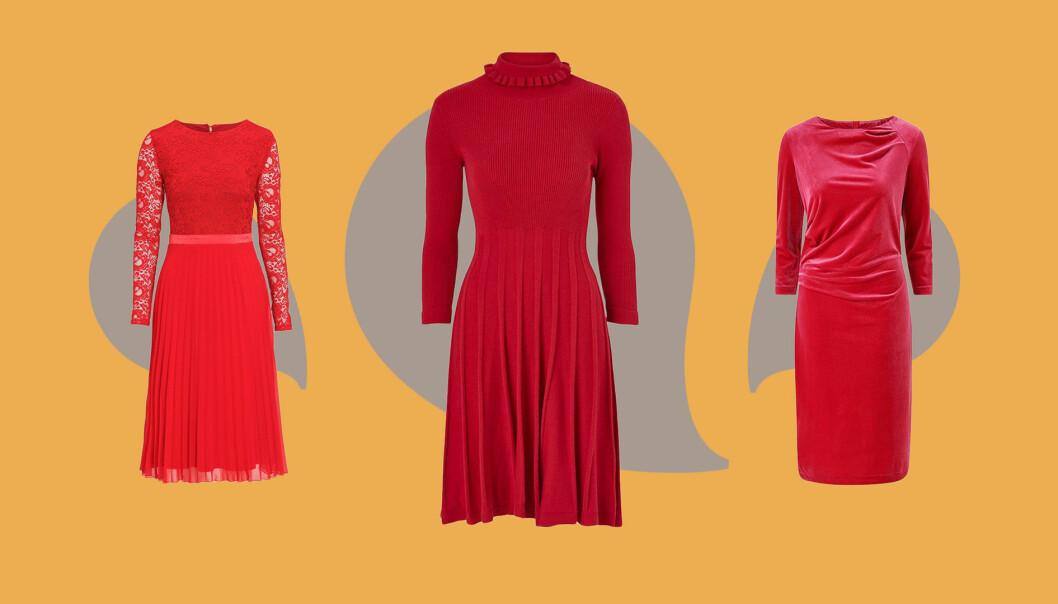 Röda klänningar till julen 2019