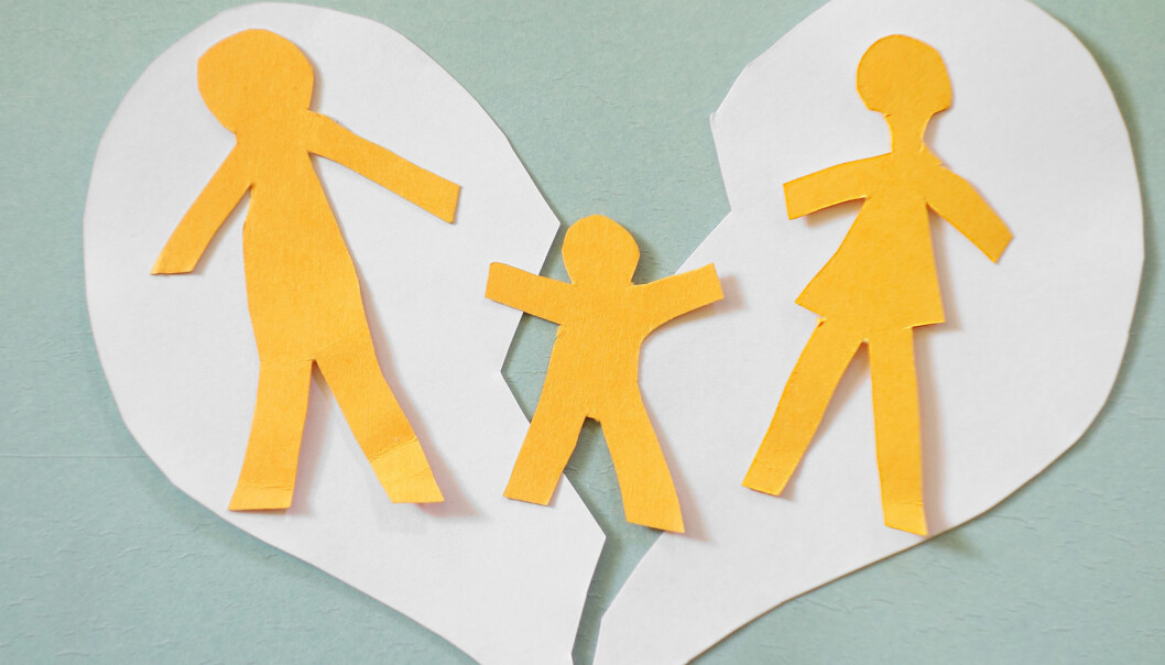 Brustet hjärta med splittrad familj