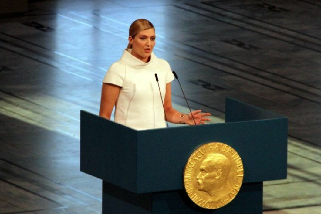 Nobels fredspris Beatrice Fihn, Ican, håller tal