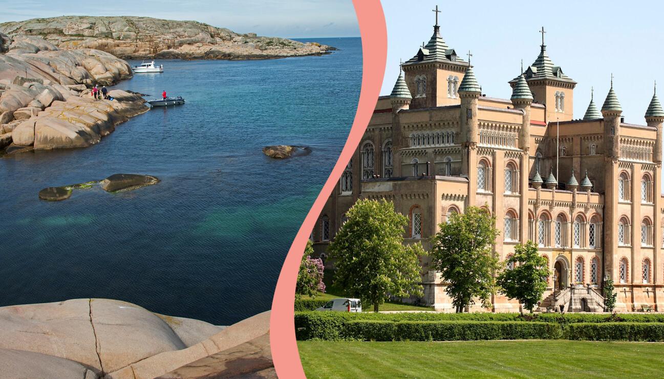 Kollage av Stora Sundby slott och marmorbassängen på Hållö.