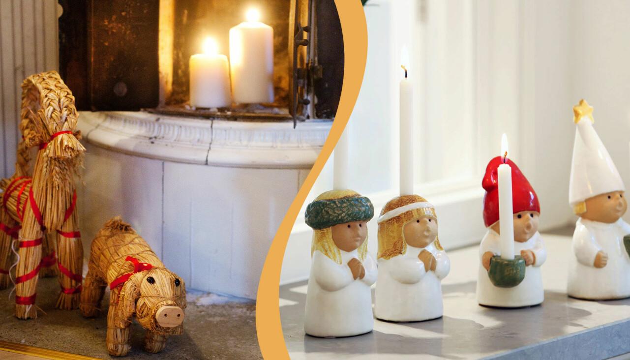Kollage av klassiskt luciatåg och julbockar av halm.