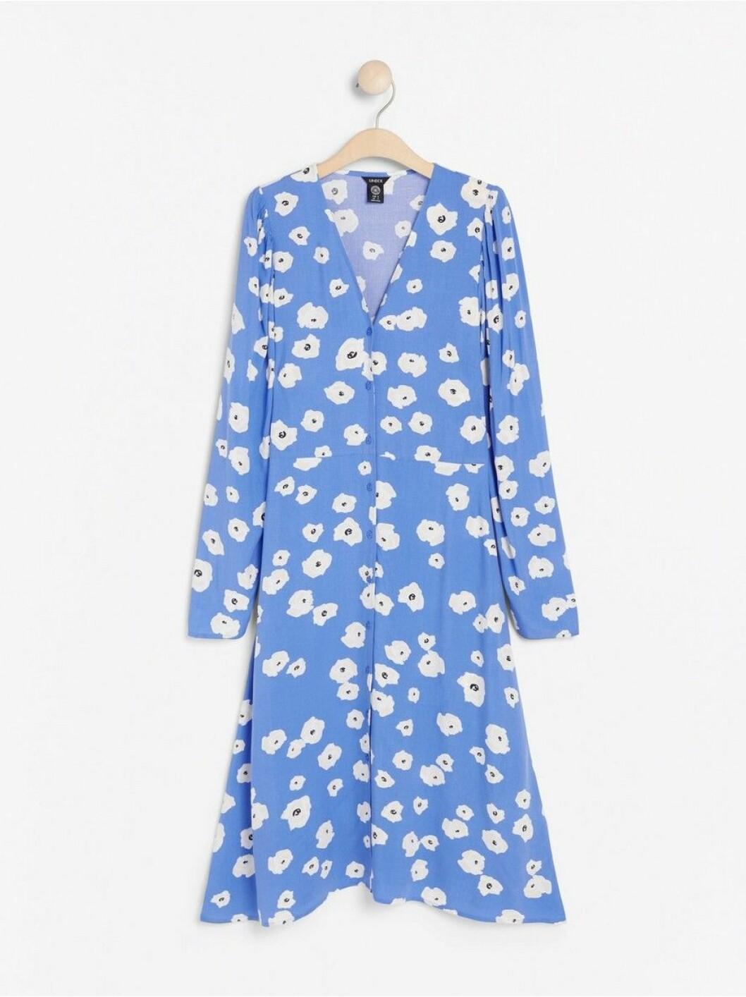 blå blommig klänning lindex