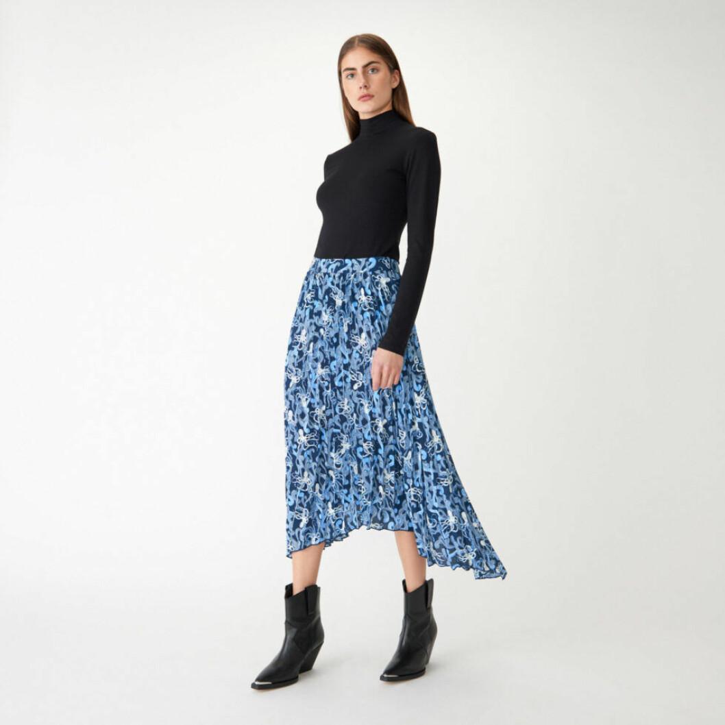 mönstrad kjol blå