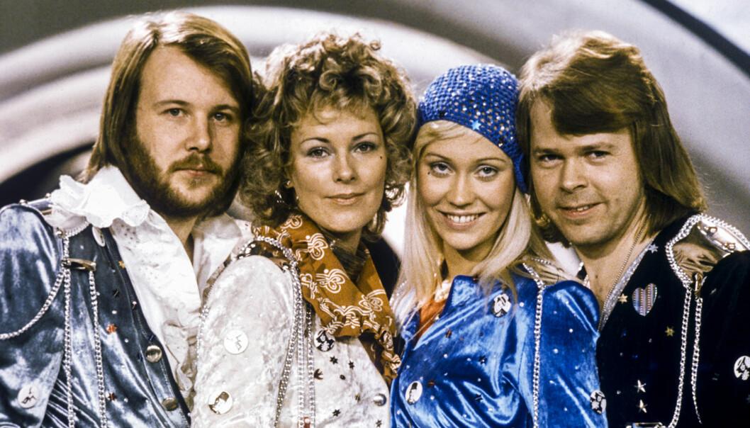 Abba efter segern i Melodifestivalen 1974.