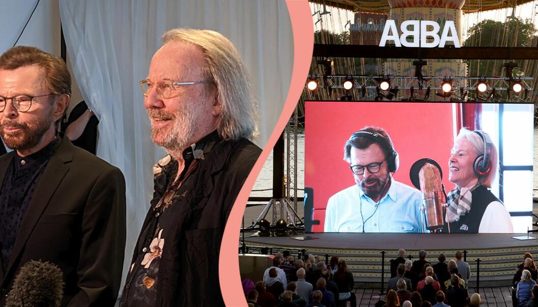 ABBA sände live på storskärm på Gröna Lund i Stockholm.