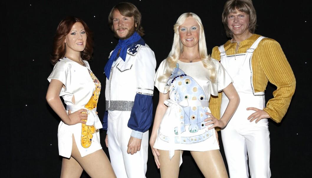 """Bandet ABBA som vaxdockor på Madame Tussauds i New York. Anni-Frid """"Frida"""" Lyngstad, Benny Andersson, Agnetha Fältskog och Björn Ulvaeus."""