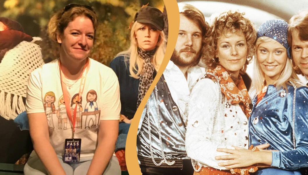 Delad bild. Till vänster syns Ann Dahlqvist fotograferad på Abba-museet. Till höger syns Abba i scenkläder på ett fotografi från 70-talet.