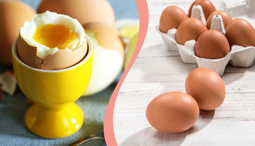 Till vänster, ett löskokt ägg, till höger, ägg i en kartong och på ett bord.