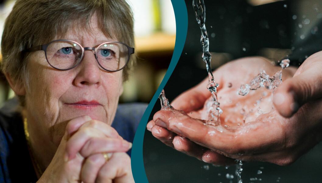 Agnes Wold, professor och läkare, i kombination med en bild på någon som tvättar händerna.