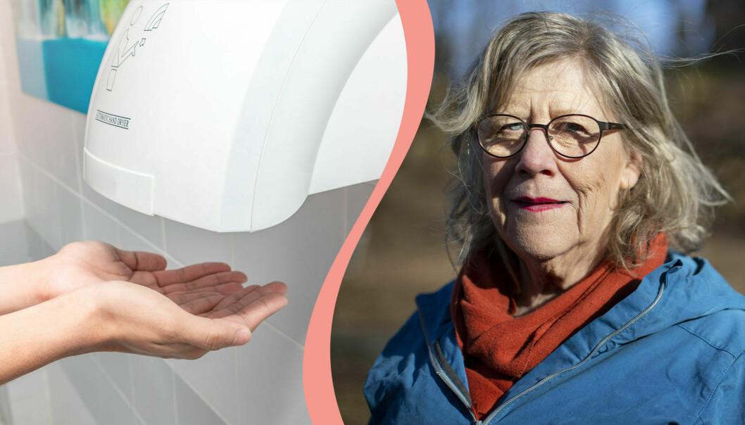Delad bild. Till vänster ett par händer under en automatisk handtork på en offentlig toalett. Till höger professor Agnes Wold.