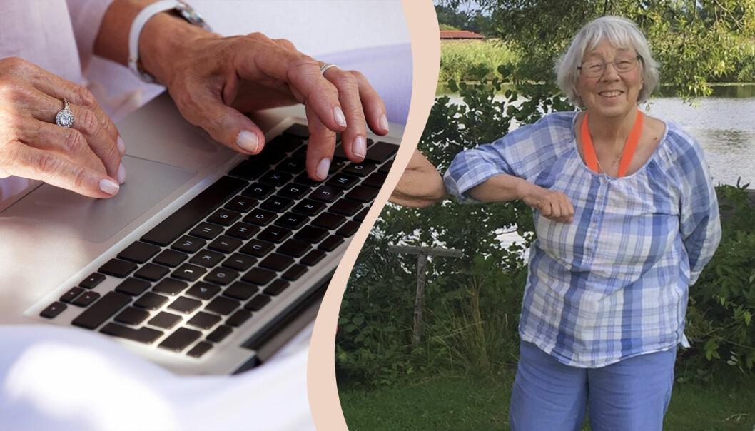 Äldre kvinna vid datorn.