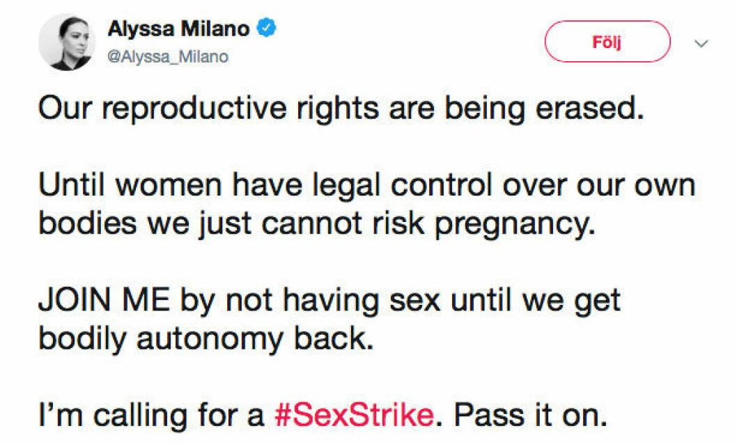Skådespelerskan Alyssa Milano protesterar på Twitter mot den nya abortlagen i Alabama.