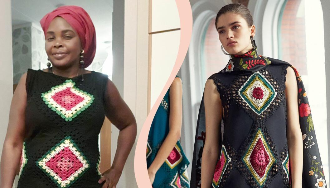 Amina Yusuf Nassim virkar utan mönster. Såg bild på svart virkad klänning av designern Oscar de la Renta och gjorde egen version.