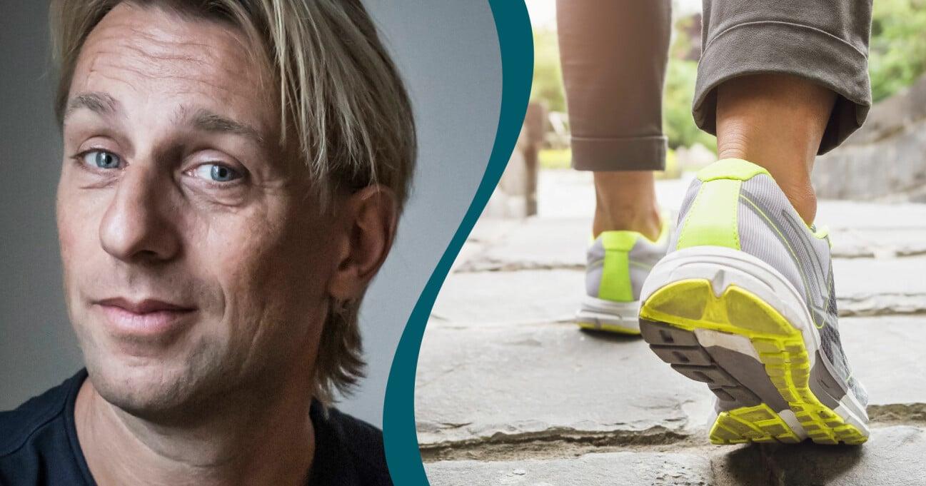 Anders Hansen i kombination med en bild på en kvinna som promenerar för att må bättre.