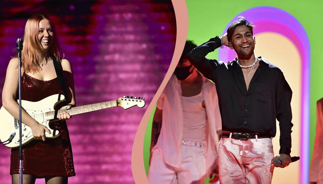 Clara Klingenström och Alvaro Estrella i Melodifestivalen 2021.