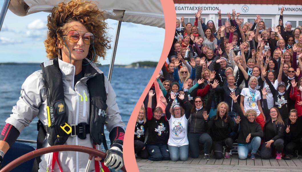 Anna Mourou på sin segelbåt och kvinnor som deltar i en eskader med nätverket She Captain i Stockholm.