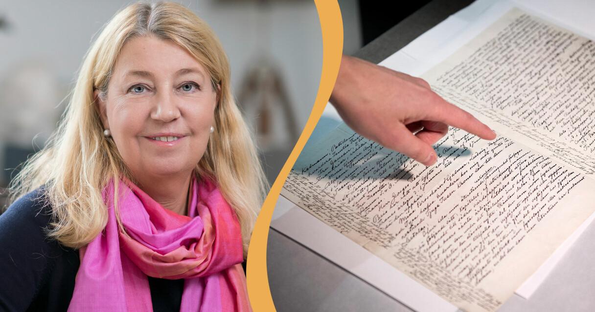 Annika Creutzer som svarar på frågor om testamente och en bild på Nobels testamente.