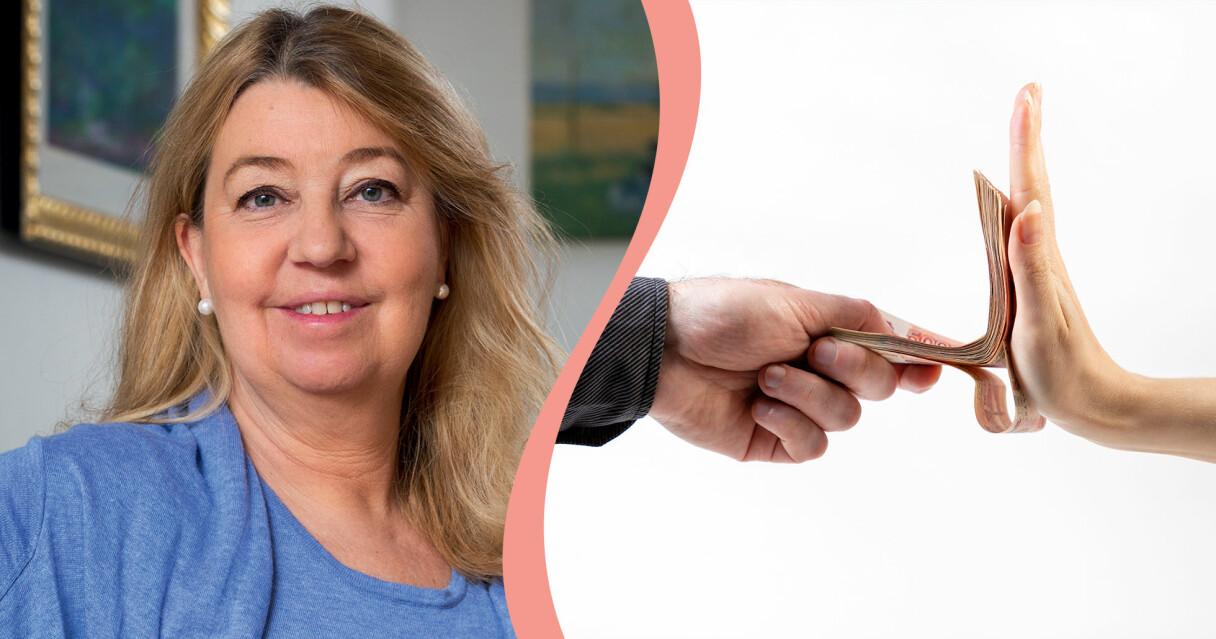 Annika Creutzer som svarar på några vanliga frågor om olika sorters lån i en kombinerad bild med någon som nekar ett banklån.