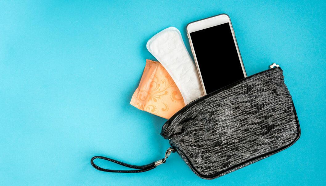 Handväska med binda, telefon och trosskydd