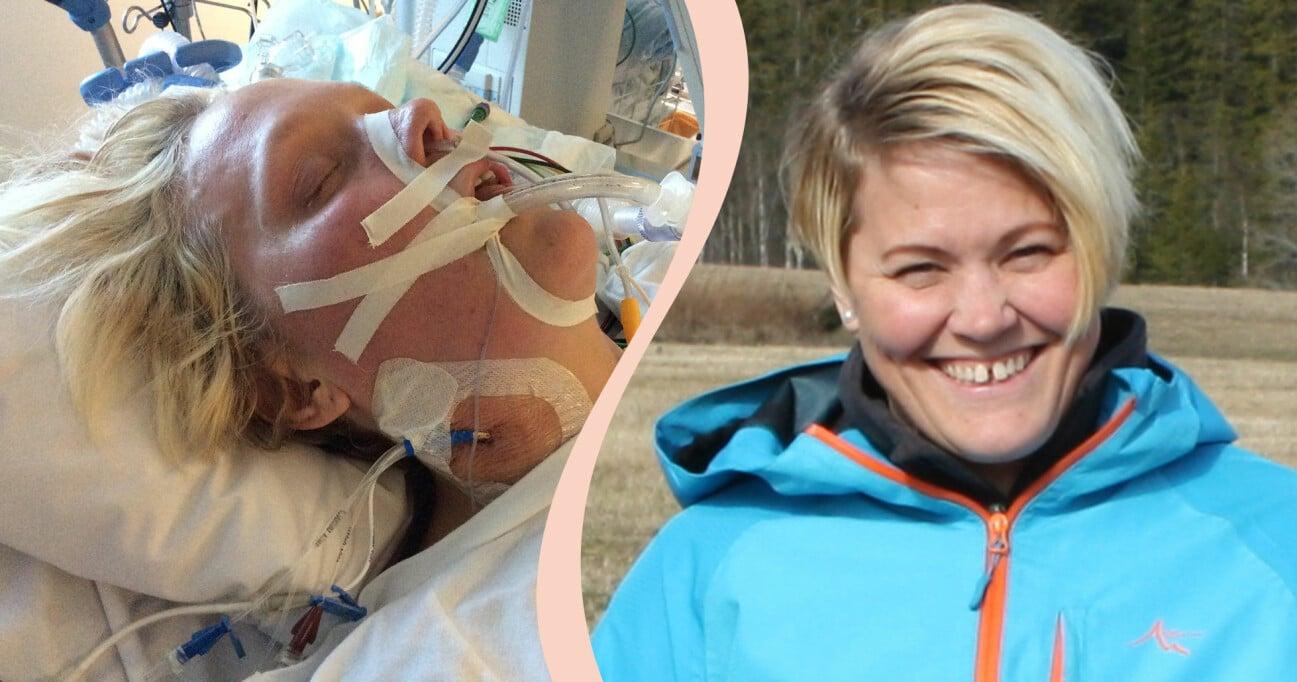 Till vänster: Åsa i sjukhussängen efter en hjärnblödning. Till höger: Åsa ler mot kameran stående på en äng.