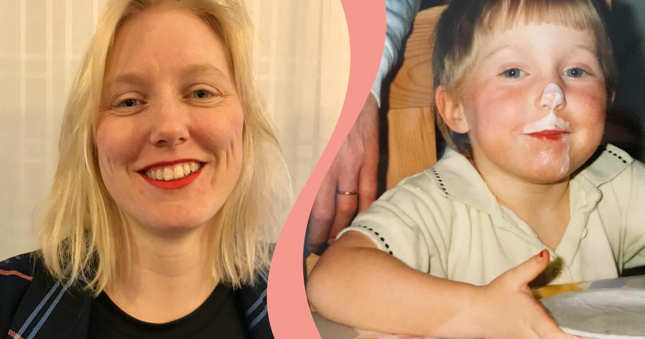 Bild på radiojournalisten Åsa Secher som vuxen och som barn.