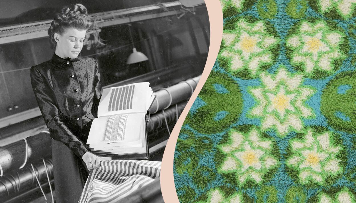 Delad bild. Till vänster svartvitt foto av Astrid Sampe vid vävstol. Till höger ett utsnitt av en ryamatta i gröna och gula toner.