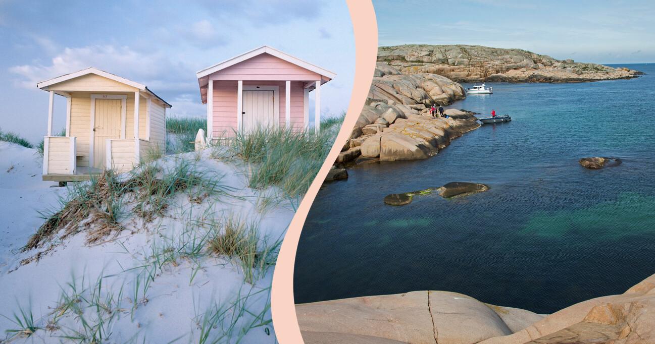 Kollage av badstränder i Sverige.