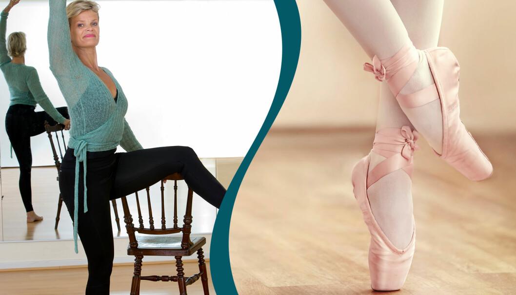Kollage av balettskor och en kvinna som utför ballerinaträning hemma