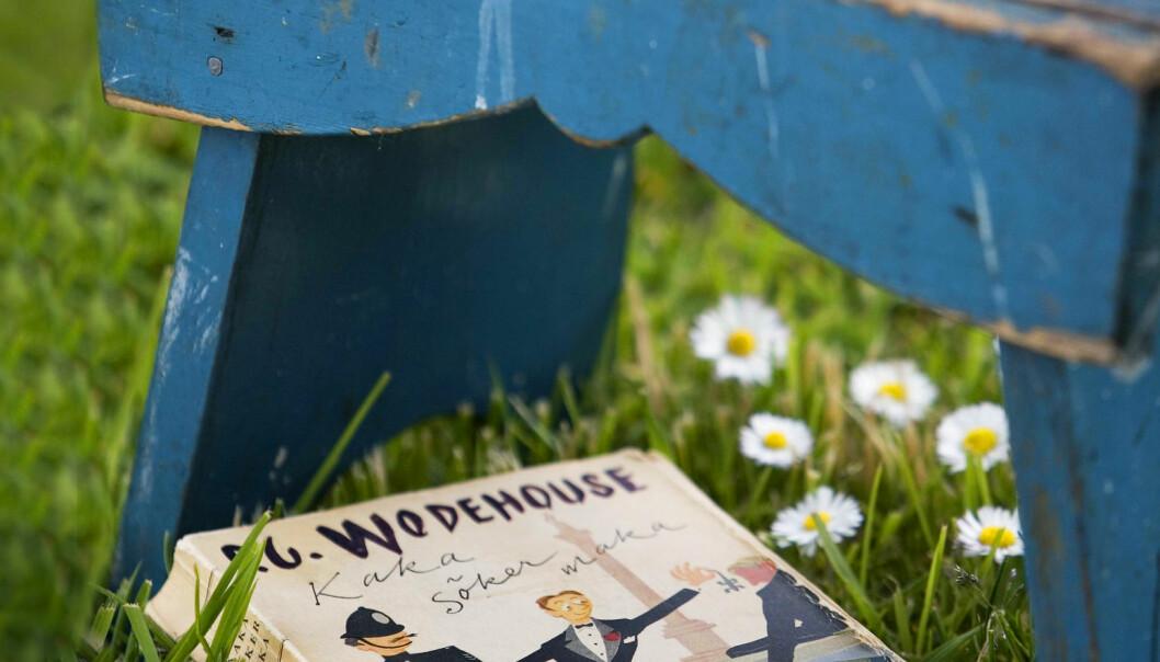 Blå sliten pall i gräset bredvid gammal bok.