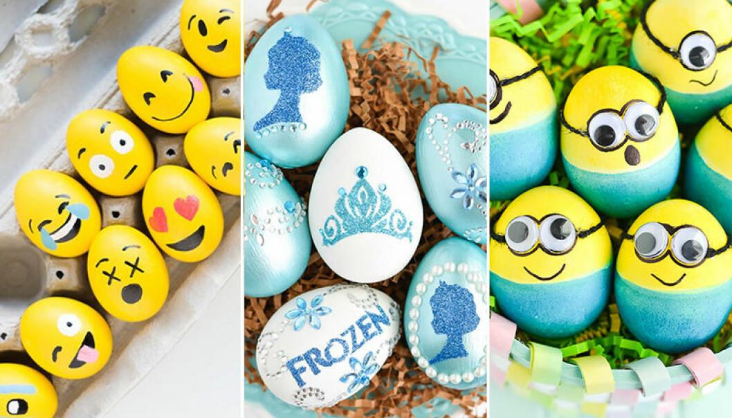 Måla päskäggen till emojis, frost-karaktärer och minioner med barnen i påsk.