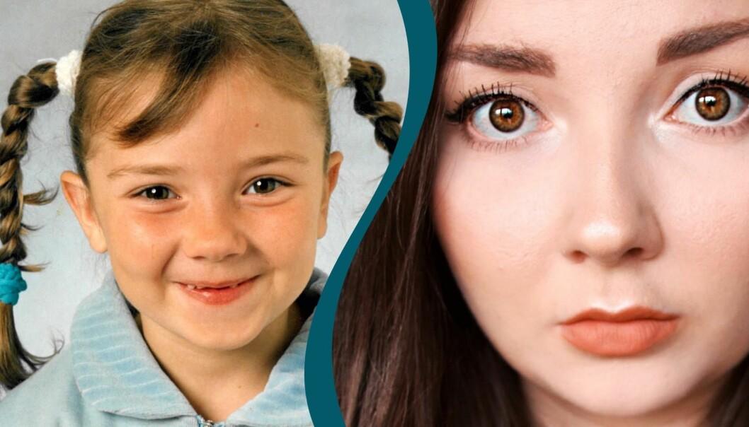 Ett kollage med två porträtt av Lizette. Ett där hon är i förskoleåldern, det andra är taget i nutid.