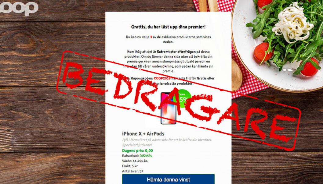 Falsk hemsida lurar coops kunder