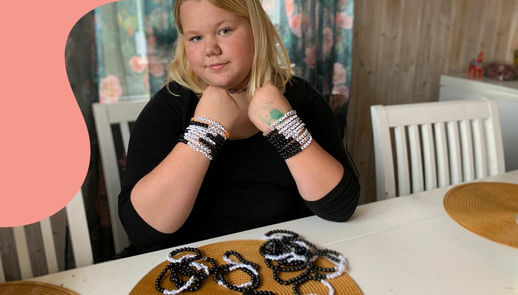Novalie, 9 år, tillverkar armband för att hjälpa andra barn som har det svårt.
