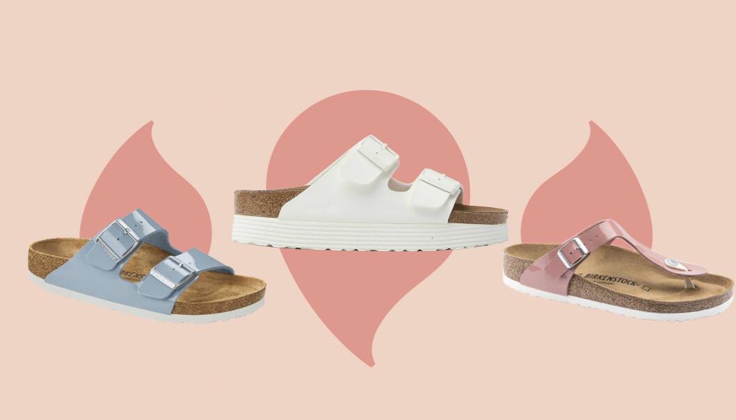 Nya Birkenstock-sandaler i olika färger.