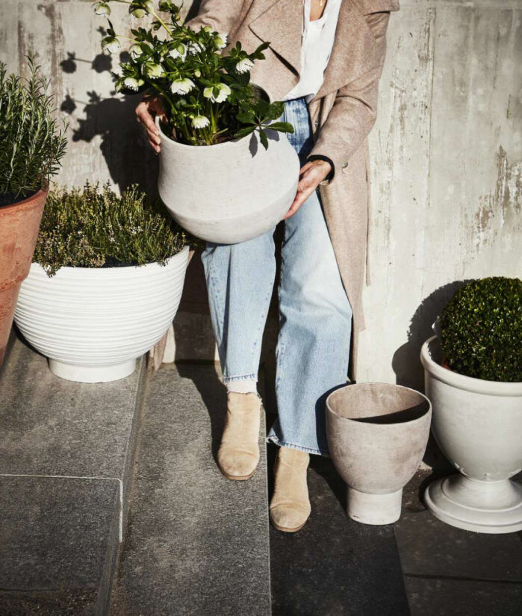 Trendiga blomkrukor utomhus