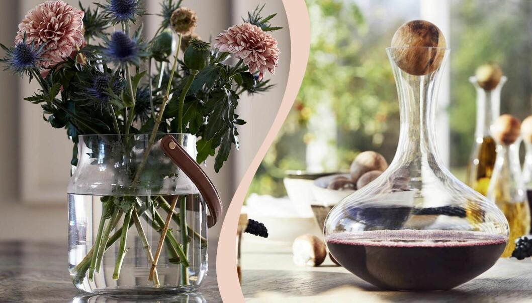 Blommor i en glasvas och rödvin i en stor karaff.