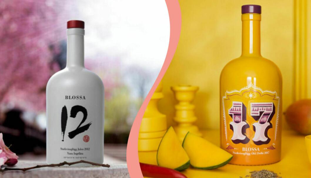 Delad bild. Till vänster en flaska av Blossas årgångsglögg från 2012. Till höger en flaska av Blossas årgångsglögg från 2017.