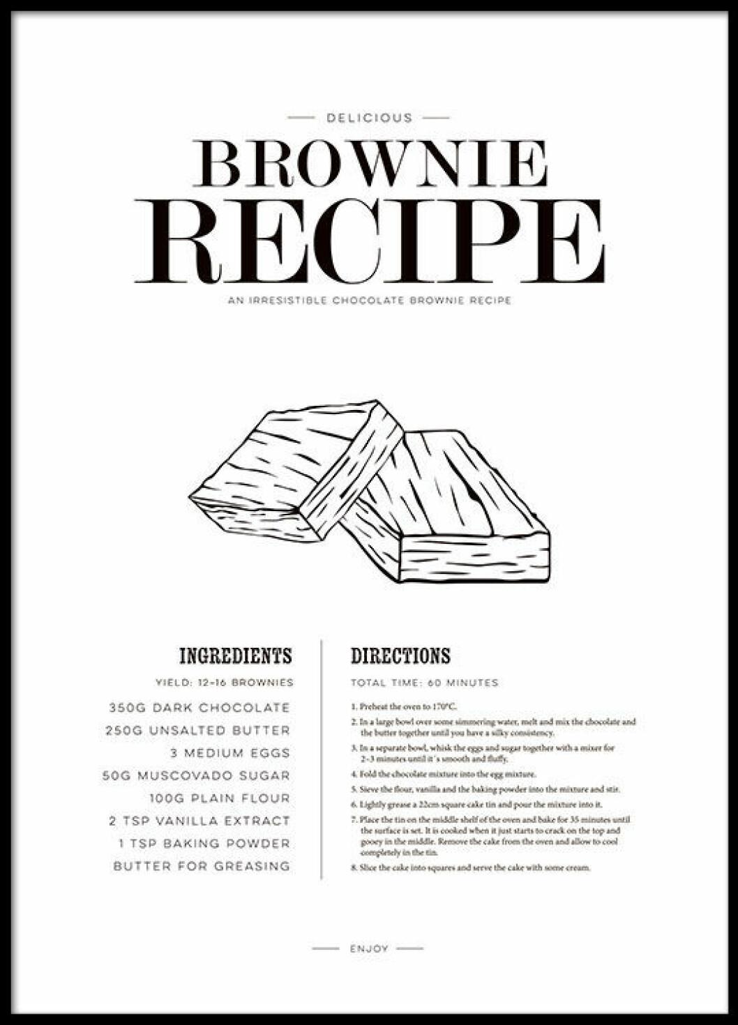 Poster med recept på brownies från Desenio.
