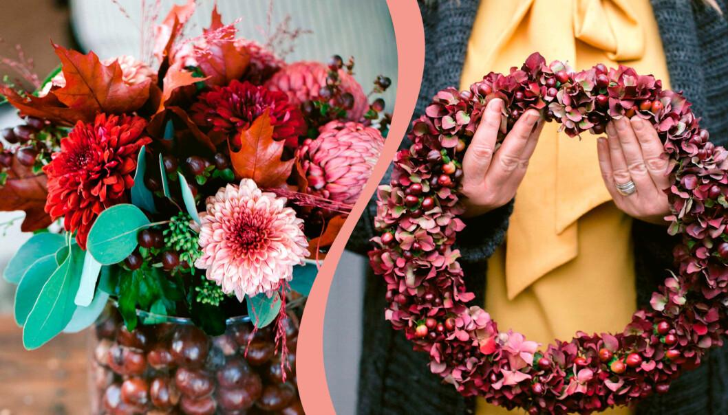 Till vänster: bukett med kastanj och johannesört. Till höger: krans av hortensia.