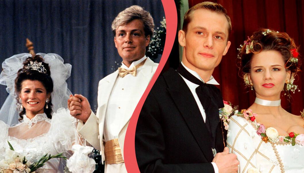 Carola Häggkvist och Runar Sögaard gifte sig 1990. Måns Herngren och Lena Philipsson gifte sig 1993. Här är deras bröllopsfoton.
