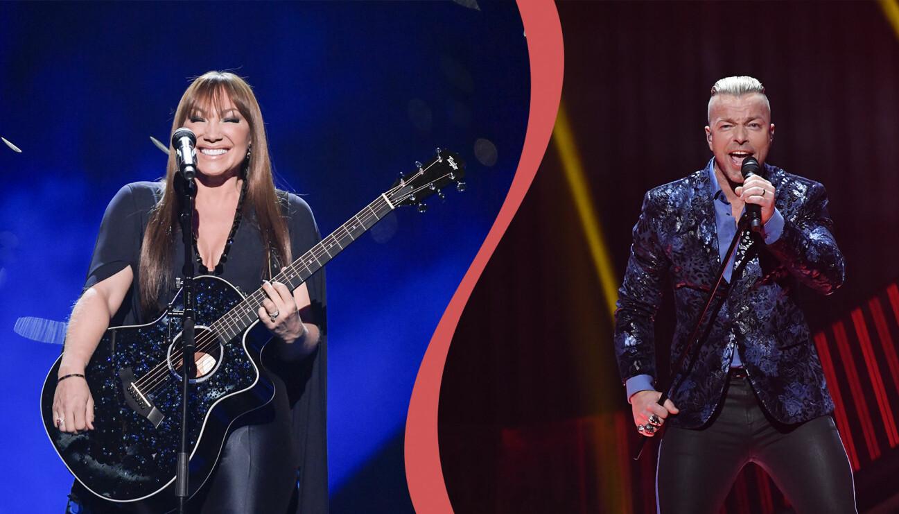 Charlotte Perrelli och Casper i Arvingarna uppträder i Melodifestivalen.