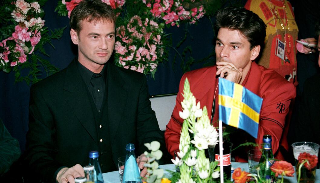 Christer Björkman och Niklas Strömstedt på Eurovision.