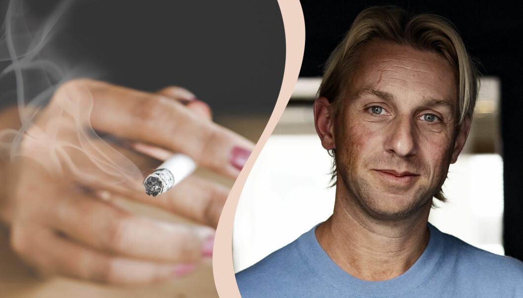 Anders Hansen och en hand med en rökande cigarett