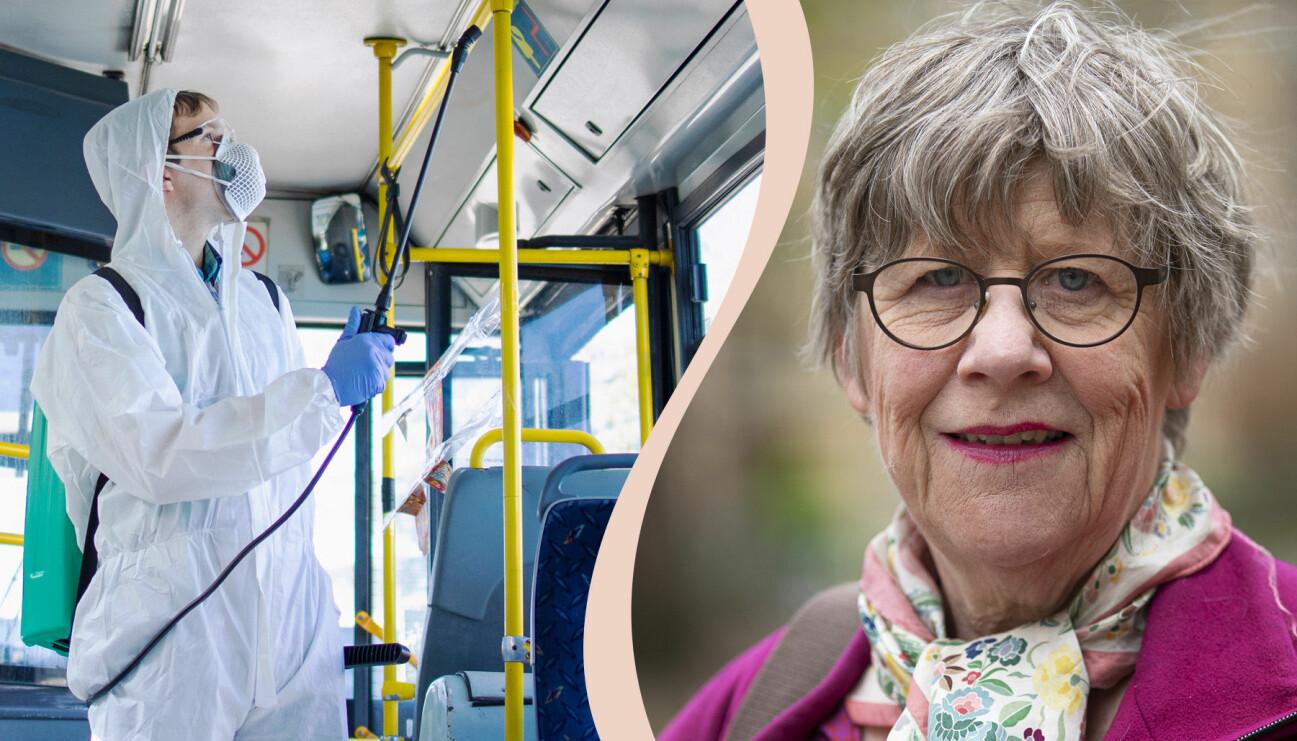 En man med skyddsdräkt desinficerar ytor inne i en buss och ett porträtt på Agnes Wold, professor.