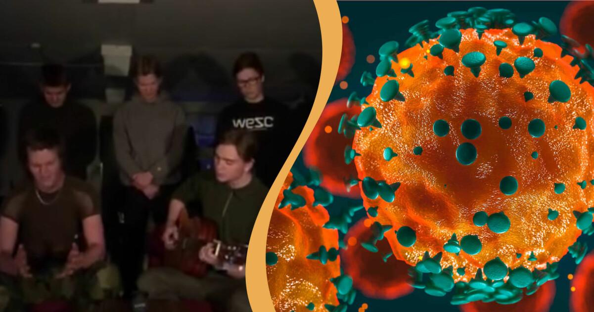 Corona-sångarna i kombination med en bild på ett coronavirus.