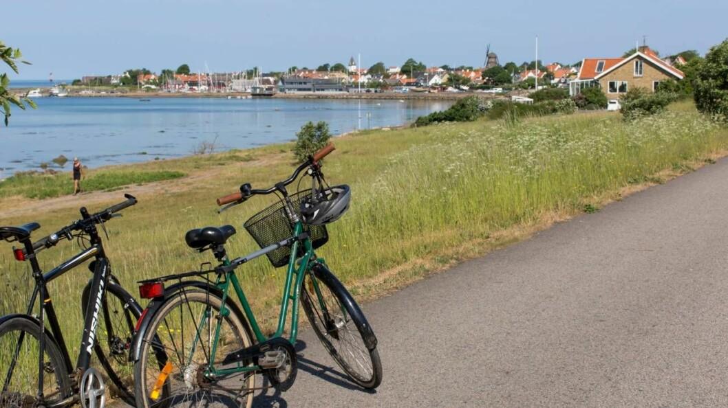 Cyklar strax utanför Vikens hamn.
