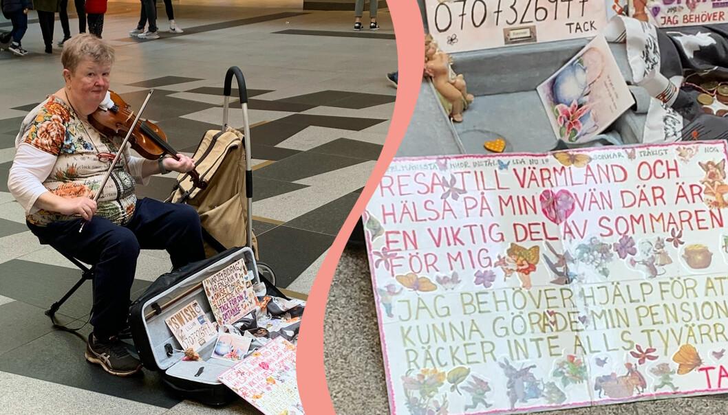 Pensionären Lilian Möller spelar fiol för att samla in pengar till en resa.