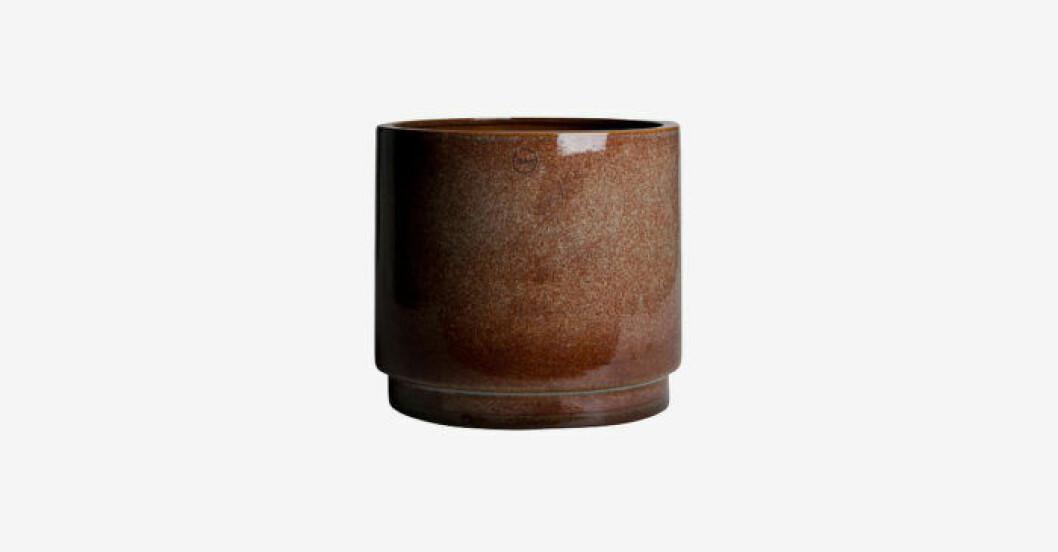 Brun glaserad blomkruka i keramik från DBKD